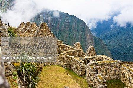 High angle view of ruins on mountains, Machu Picchu, Cusco Region, Peru