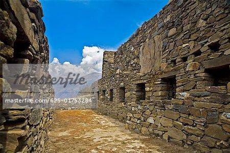 Stone walls of the old ruins, Choquequirao, Inca, Cusco Region, Peru