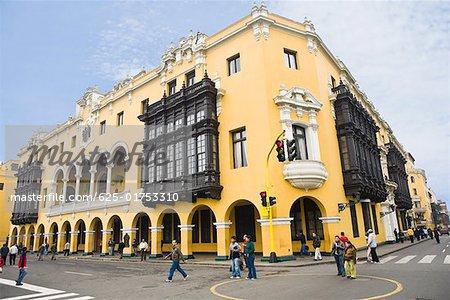 Low angle view of a palace, Municipal palace, Lima, Peru