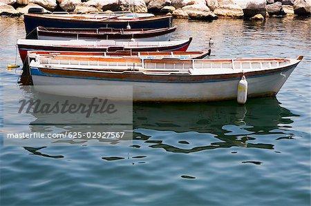 Boats docked at a harbor, Bay of Naples, Naples, Naples Province, Campania, Italy