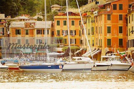 Boats at a harbor, Italian Riviera, Porticciolo, Portofino, Genoa, Liguria, Italy