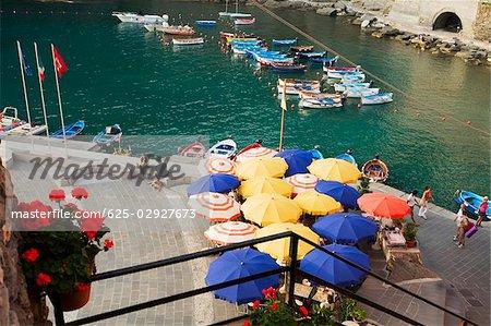 High angle view of a sidewalk cafe at a riverside, Italian Riviera, Cinque Terre National Park, Vernazza, La Spezia, Liguria, Italy