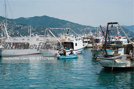 Ships at a harbor, Italian Riviera, Santa Margherita Ligure, Genoa, Liguria, Italy