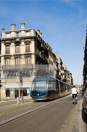 Cable car on tracks in a city, Vieux Bordeaux, Bordeaux, France