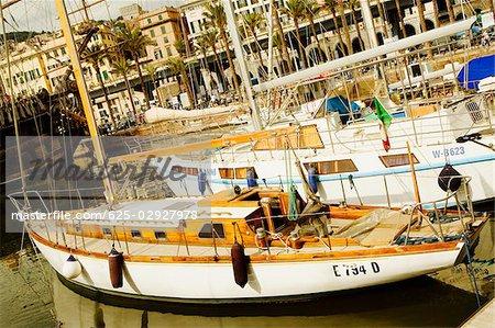 Boats docked at a harbor, Porto Antico, Genoa, Italy