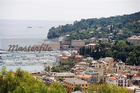High angle view of buildings at the seaside, Italian Riviera, Santa Margherita Ligure, Genoa, Liguria, Italy