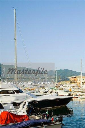 Boats at a harbor, Italian Riviera, Santa Margherita Ligure, Genoa, Liguria, Italy