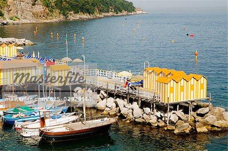 High angle view of boats at a harbor, Marina Grande, Capri, Sorrento, Sorrentine Peninsula, Naples Province, Campania, Italy