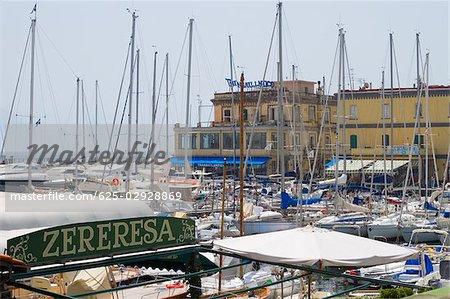 Sailboats at a harbor, Santa Lucia, Borgo Marinaro, Bay of Naples, Naples, Naples Province, Campania, Italy