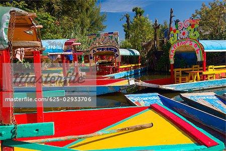 Trajineras boats in a canal, Xochimilco Gardens, Mexico City, Mexico