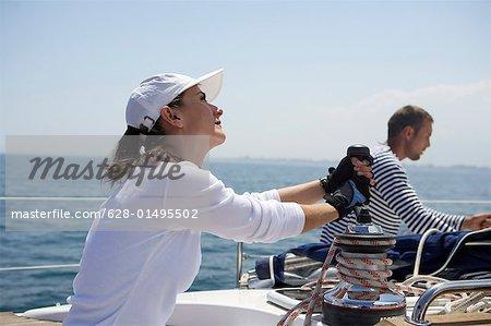 Woman handling a winch