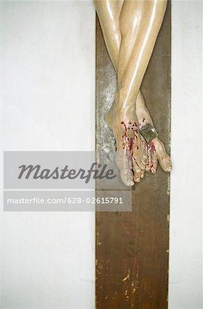 Stigmatized Feet of Jesus Christ on the Cross - Faith - Symbol - Christianity
