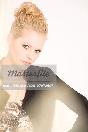 Blond woman wearing blazer