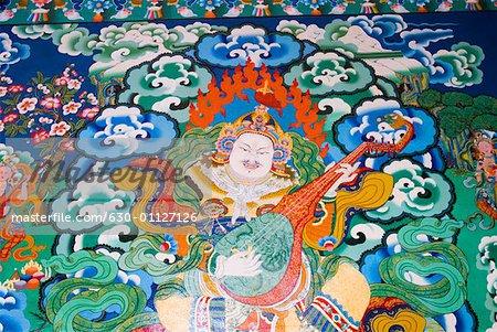 Close-up of a painting, Norbulingka Institute, Dharamshala, Himachal Pradesh, India