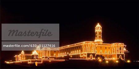Building lit up at night, Rashtrapati Bhavan, New Delhi, India