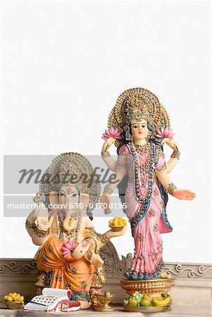 Statue of God Ganesha and Goddess Laxmi