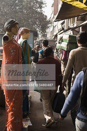People in a market, Delhi, India