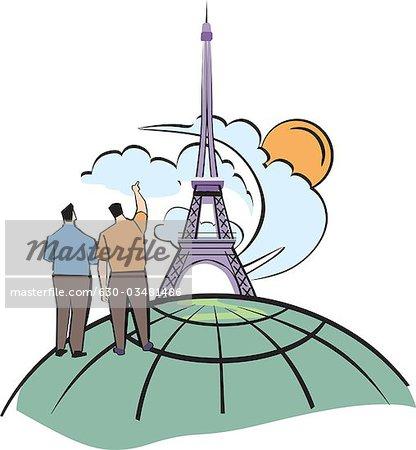 Low angle view of a tower, Eiffel Tower, Paris, Ile-de-France, France