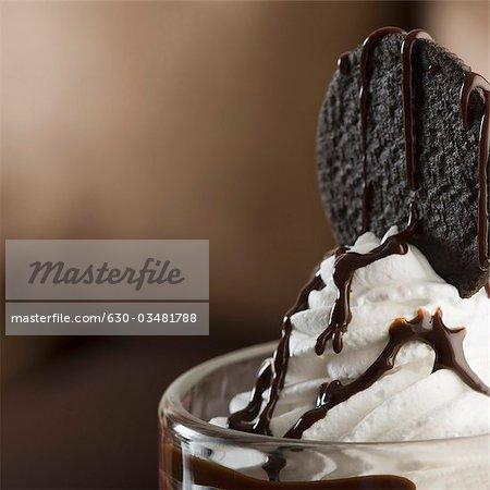 Close-up of a glass of chocolate sundae