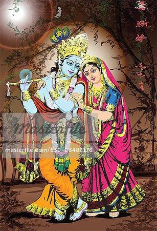 Hindu God And Goddess Radha Krishna Stock Photo Masterfile Premium Royalty Free Code 630 03482178