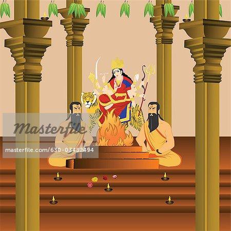 Sadhus performing Yajna of Goddess Durga