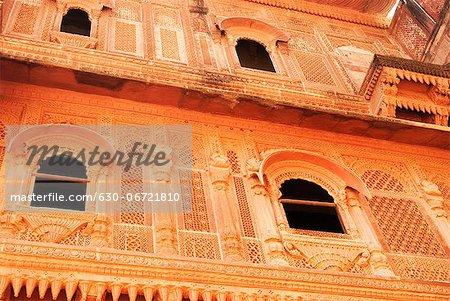 Low angle view of a fort, Meherangarh Fort, Jodhpur, Rajasthan, India