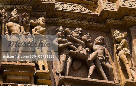 Sculptures on a temple, Kandariya Mahadeva Temple, Khajuraho, Chhatarpur District, Madhya Pradesh, India