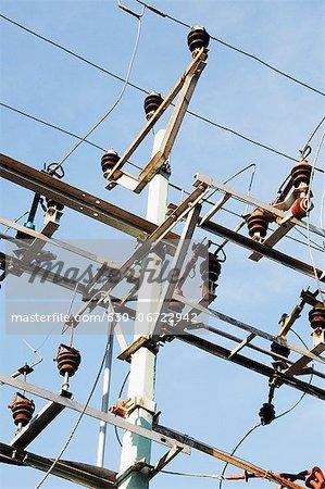Low angle view of an electricity pylon, Tirupati, Andhra Pradesh, India