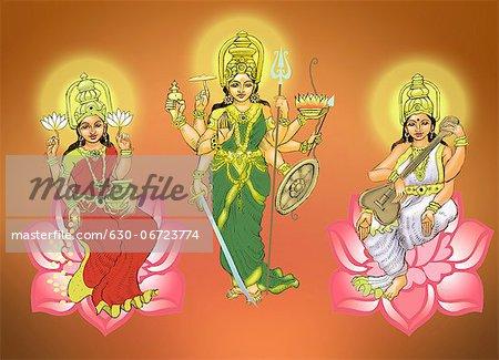 Goddess Durga with goddess Lakshmi and goddess Saraswati