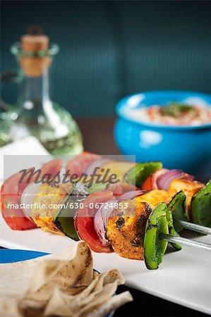 Close-up of grilled vegetable kebab