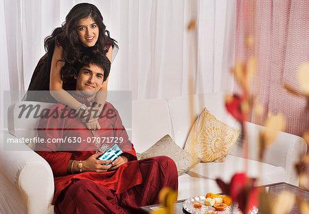 Man with his sister at Raksha Bandhan