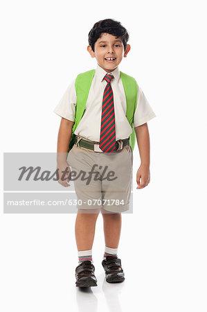 Schoolboy smiling