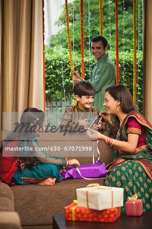 Family preparing for Diwali