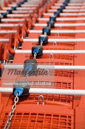 Shopping carts in row, close-up