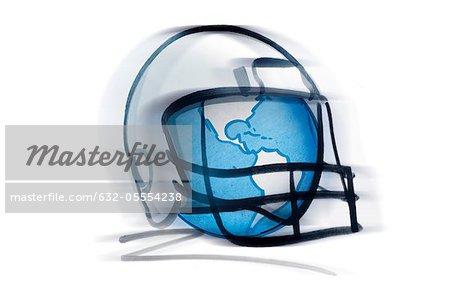 Globe inside of football helmet