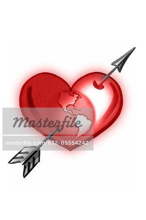 Earth inside of heart and arrow