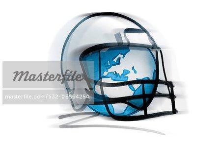 Globe in football helmet