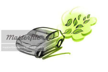 Car emitting green leaves