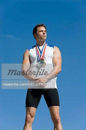 Male athlete on winner's podium