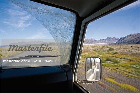 Driving through Vatnajökull National Park (formerly Skaftafell National Park), Iceland