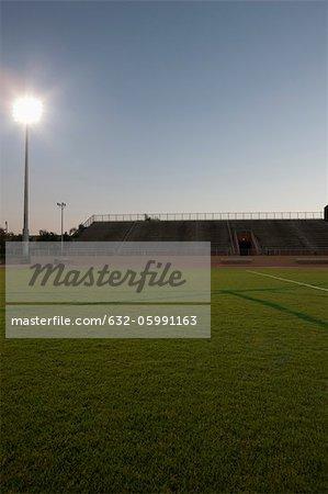 Empty sports field and stadium