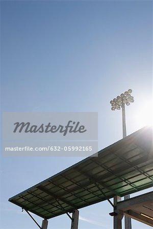 Stadium awning and floodlights