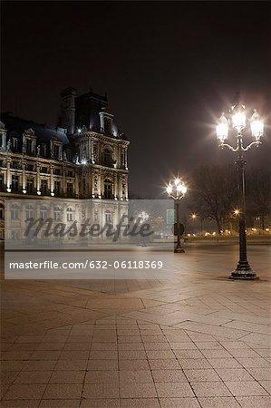 France, Paris, Place de l'Hotel de Ville illuminated at night