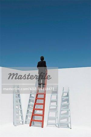 Businessman climbing ladder, rear view
