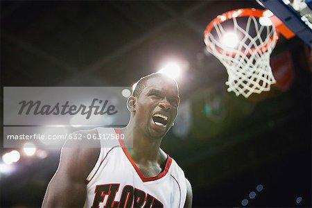 Basketball player shouting