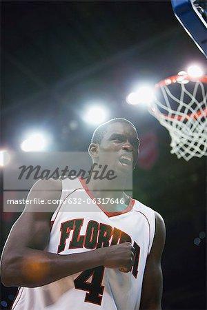 Basketball player cheering