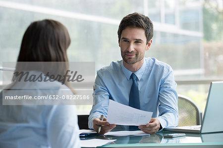 Financial advisor meeting with prospective customer