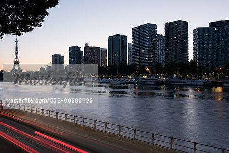 High rise buildings along the Seine River in Paris, France