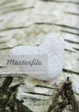 Heart shaped stone on bark background