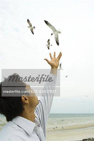 Man at the beach, arm raised, reaching toward birds in flight